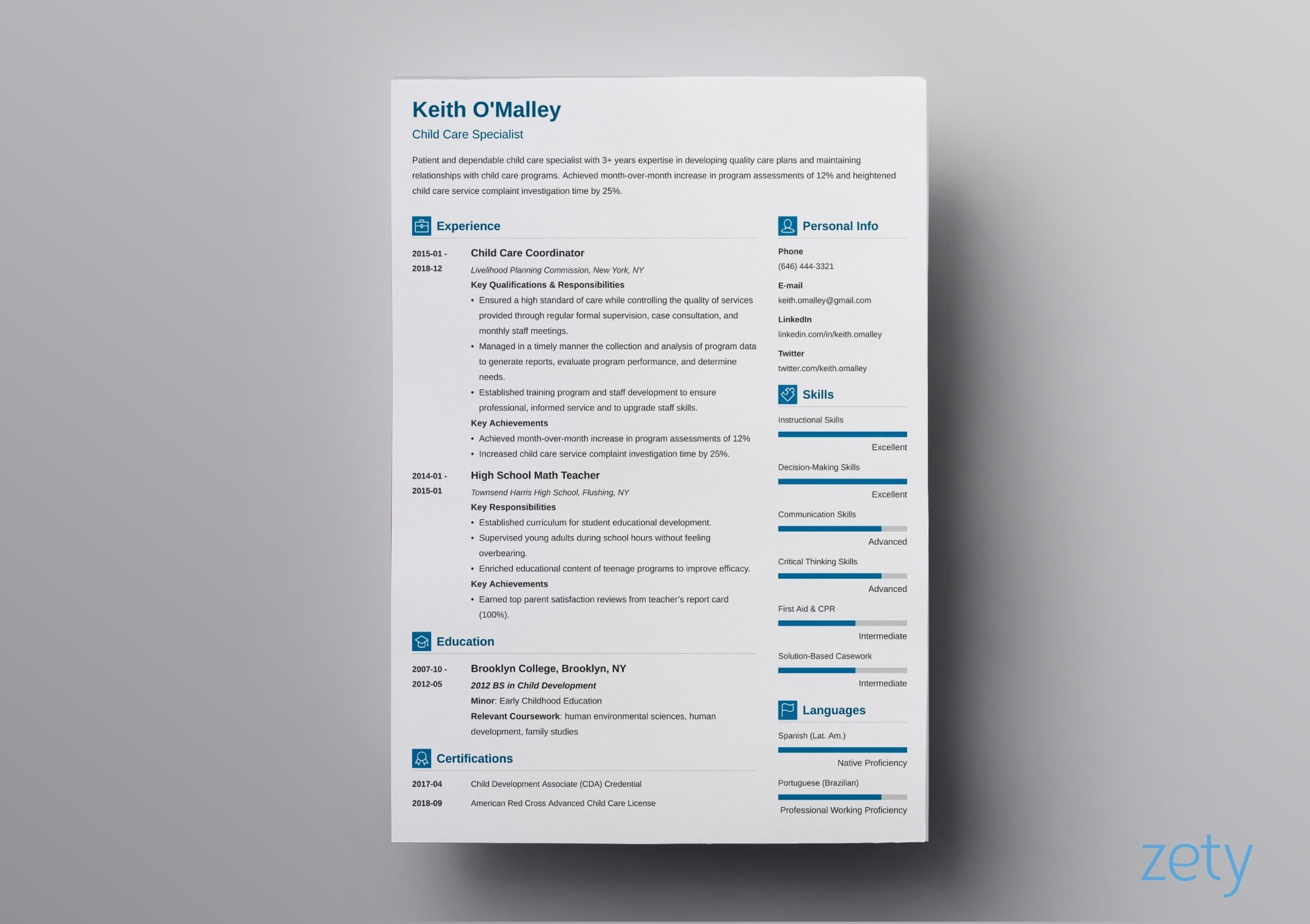 one resume templates examples of format builder vibes certification section sample Resume One Page Resume Builder
