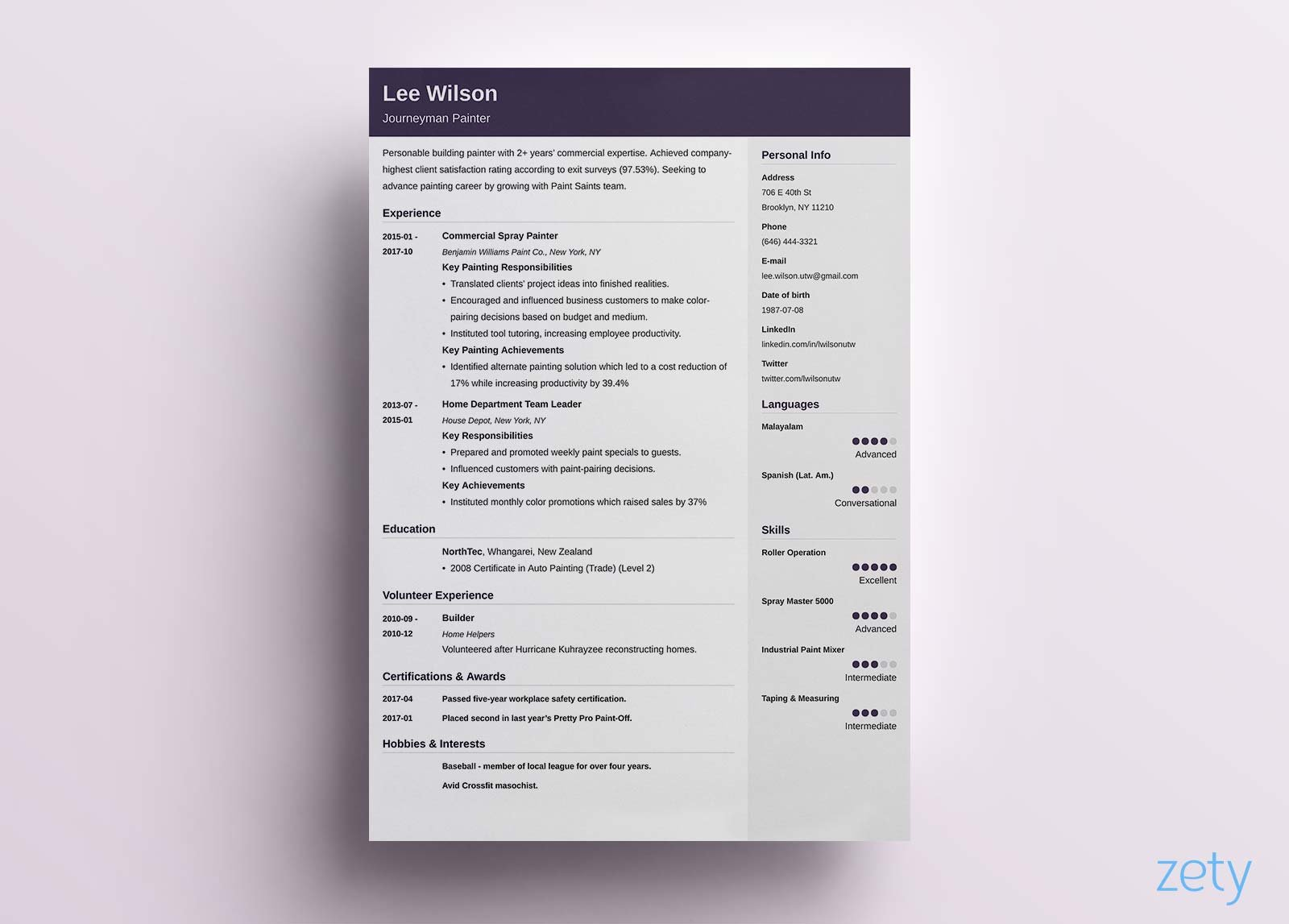 one resume templates examples of format creator headline or summary for paypal template Resume One Page Resume Creator