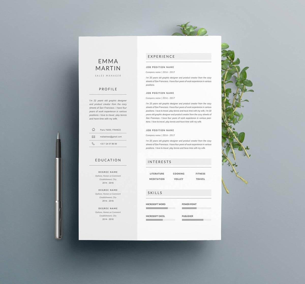 one resume templates examples of format creator science template best free websites Resume One Page Resume Creator