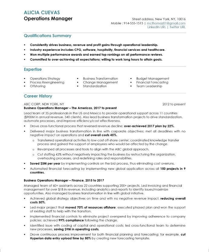 operations manager resume sample management free samples job examples financial best Resume Financial Operations Manager Resume