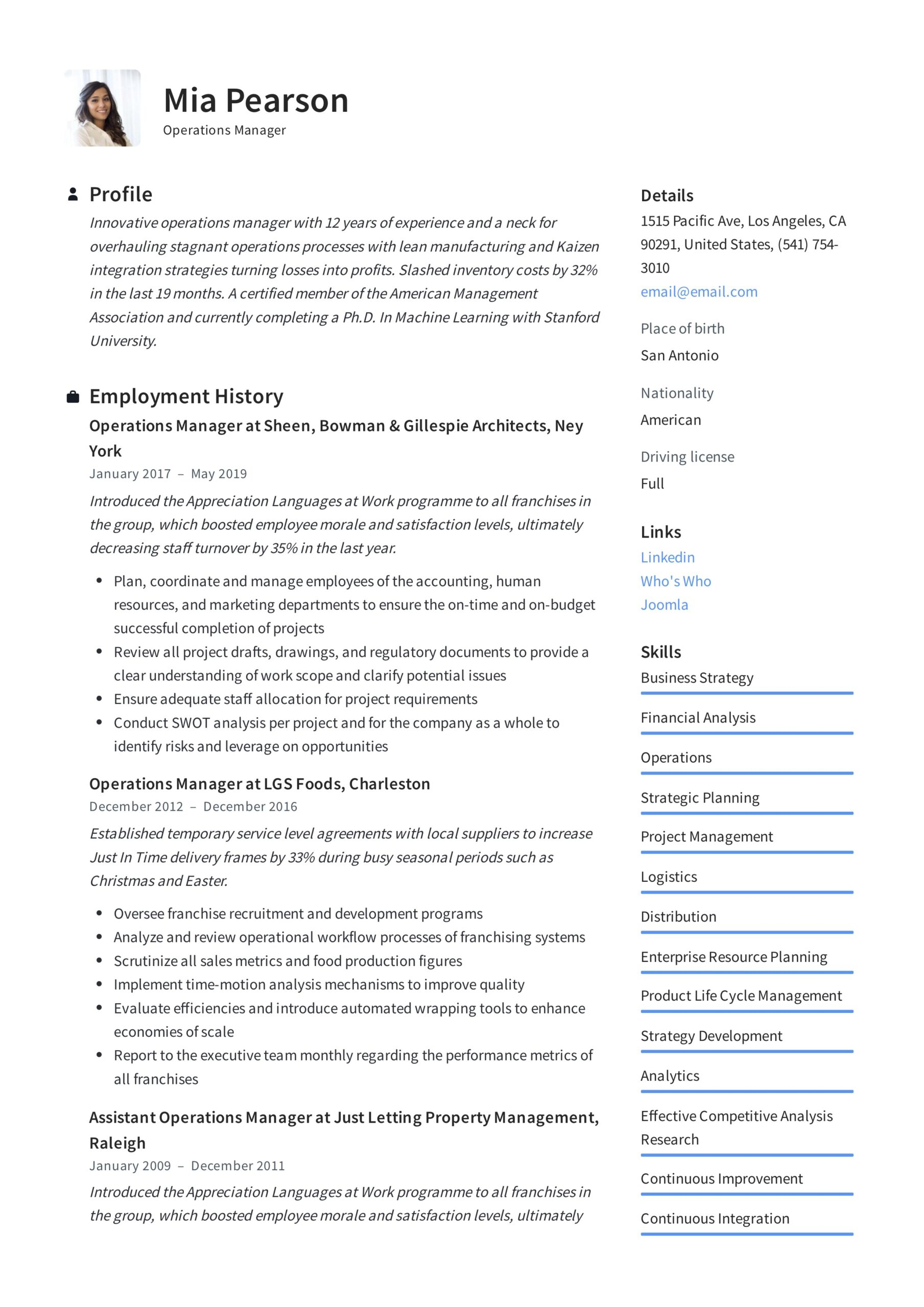 operations manager resume writing guide examples pdf example pharmacy assistant on iphone Resume Operations Manager Resume Examples
