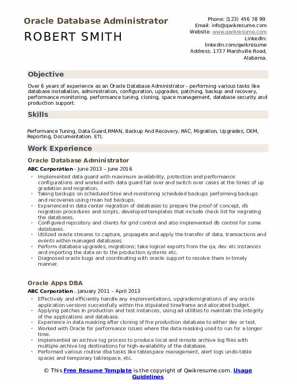 oracle database administrator resume samples qwikresume pdf bank audit experience for Resume Oracle Database Administrator Resume