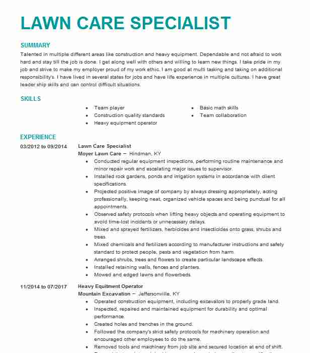 owner lawn care specialist resume example little neck beach sample for worker maintenance Resume Sample Resume For Lawn Care Worker
