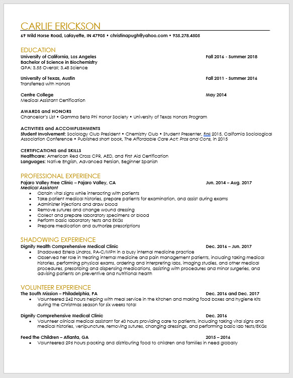 pa school applicant and pre resume template the physician assistant life caspa cv sample Resume Pa School Resume Template