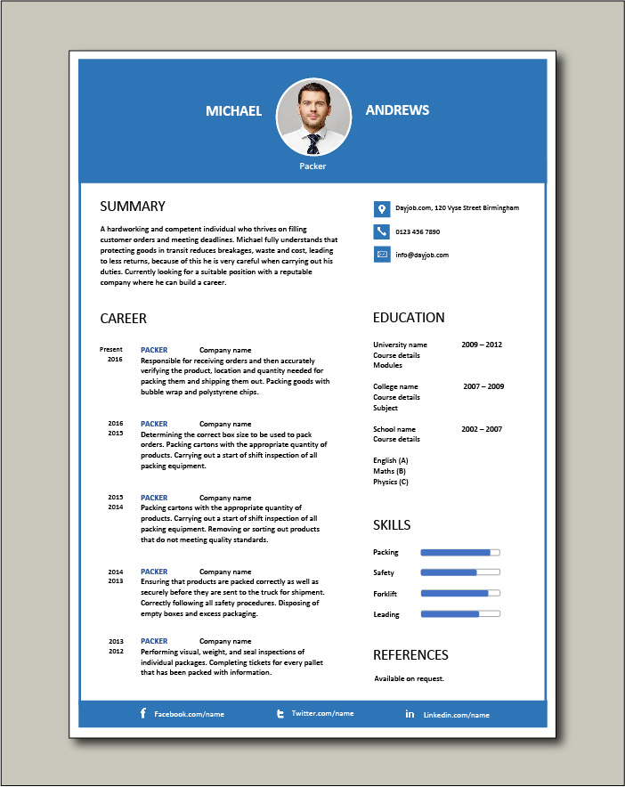 packer resume packing jobs sample manual courses training recruitment classified adverts Resume Filling Out A Resume
