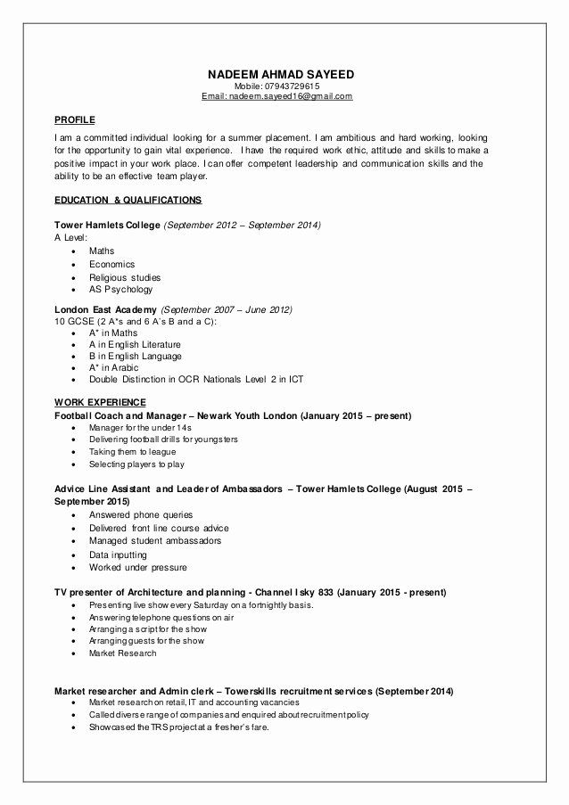 part time job resume inspirational nadeem cv jobs template examples for student good work Resume Resume For Part Time Job Student