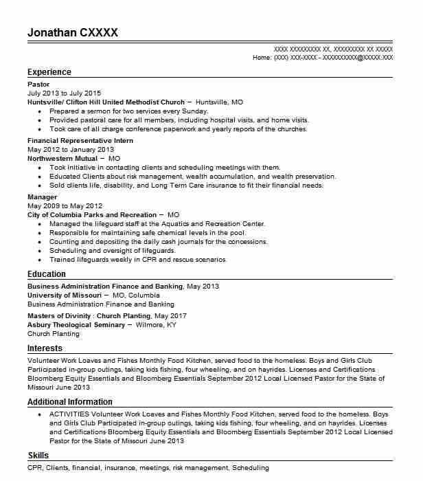 pastor resume example religion resumes livecareer ministry templates for word personal Resume Ministry Resume Templates For Word