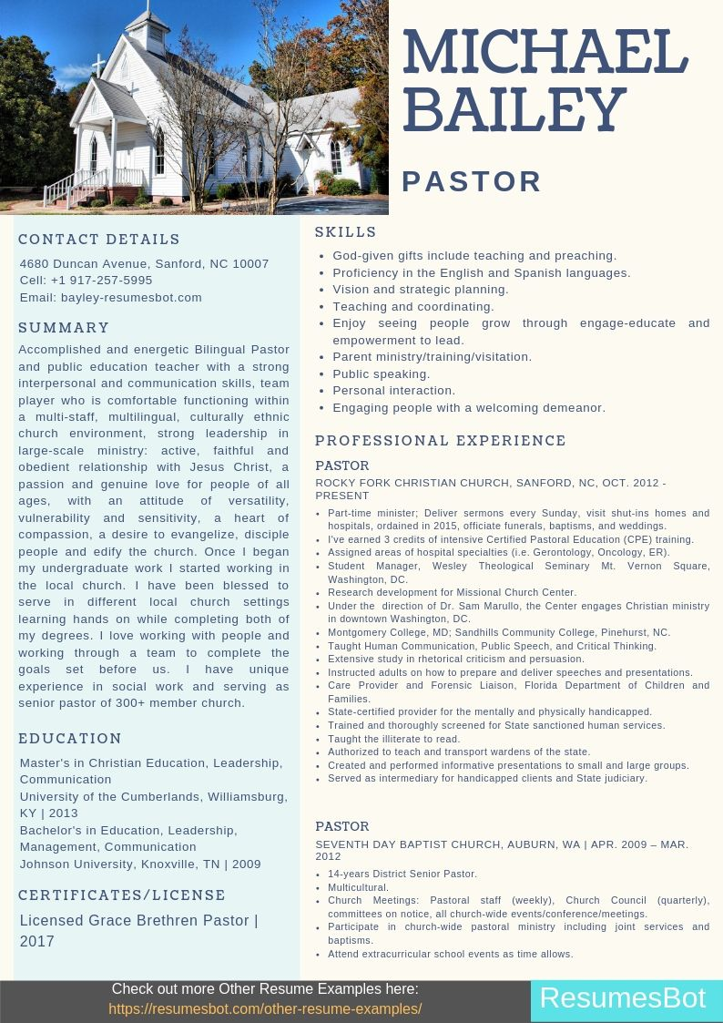 pastor resume samples templates pdf resumes bot ministry for word example networking job Resume Ministry Resume Templates For Word