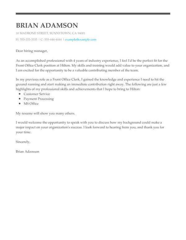 perfect cover letter templates my resume for front office clerk creative writer example Resume Cover Page For Resume
