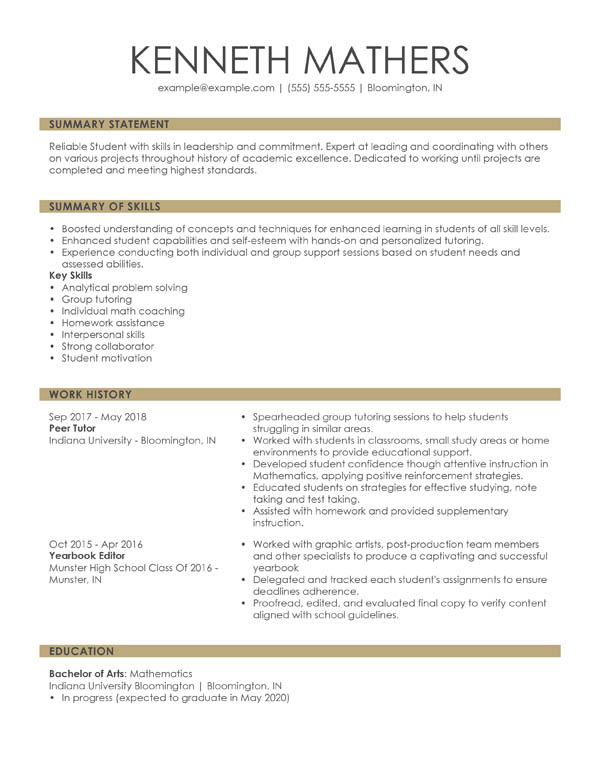 perfect resume examples for my example combination student websites that help you write Resume Websites That Help You Write A Resume