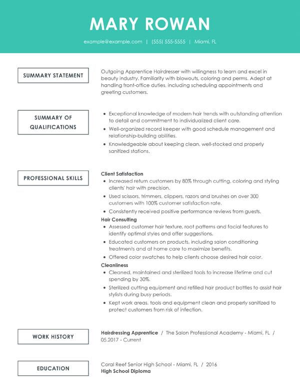 perfect resume examples for my give an example of simple functional entry level hair Resume Give Me An Example Of A Resume