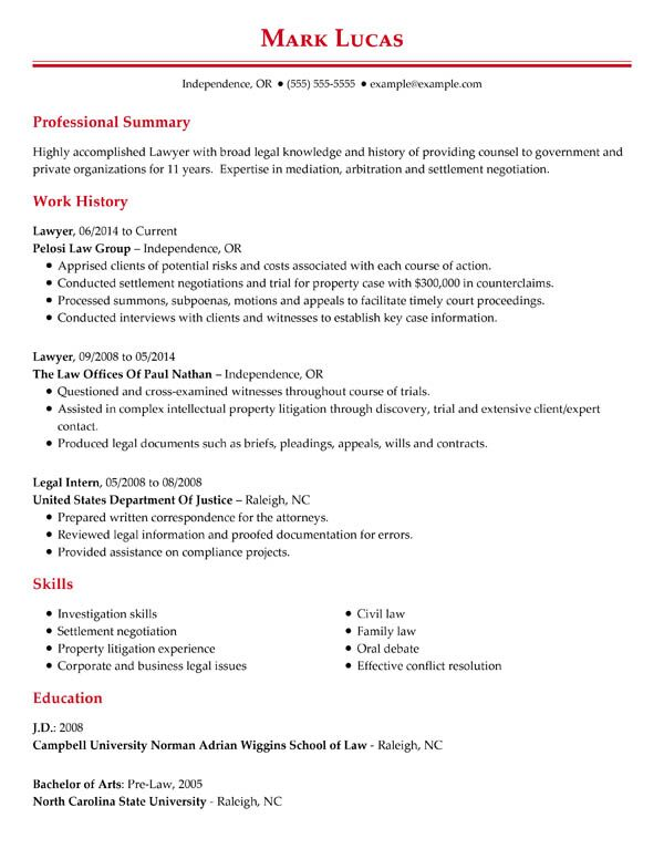 perfect resume examples for my job professional chronological lawyer trial attorney Resume Job Examples For Resume