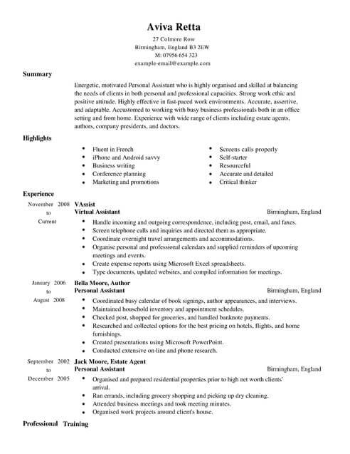 personal assistant cv template samples examples job resume full cto good headline for Resume Personal Assistant Job Resume