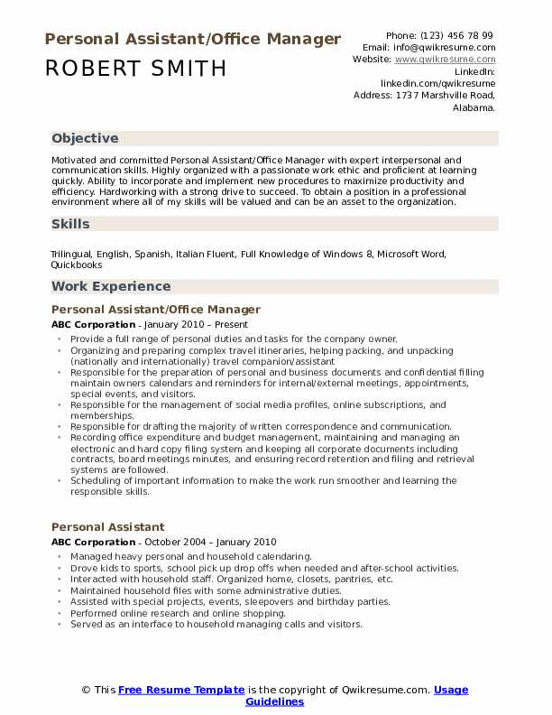 personal assistant resume samples qwikresume job pdf occupational therapist sample plant Resume Personal Assistant Job Resume