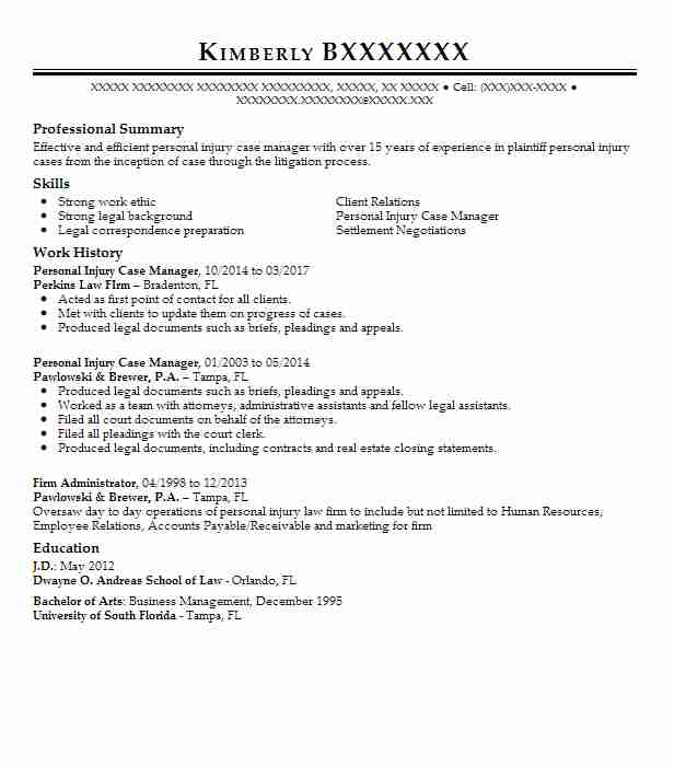 personal injury case manager resume example law firm cordova attorney student first job Resume Personal Injury Attorney Resume