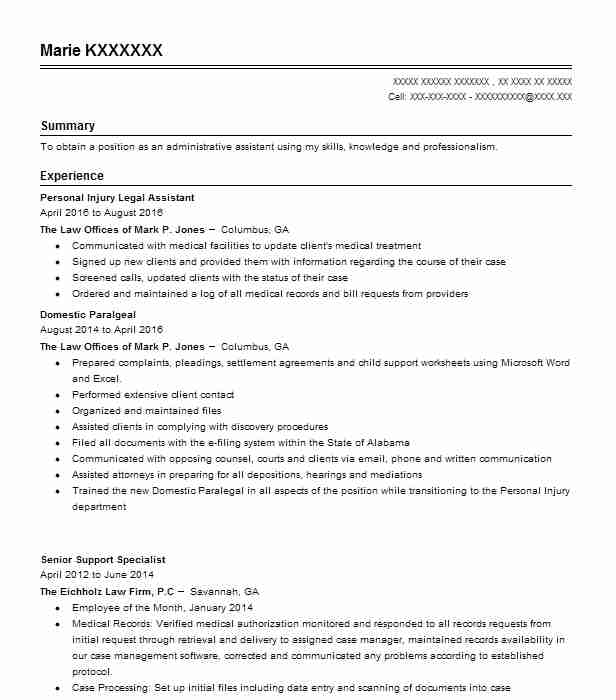 personal injury legal assistant resume example livecareer attorney qualification format Resume Personal Injury Attorney Resume