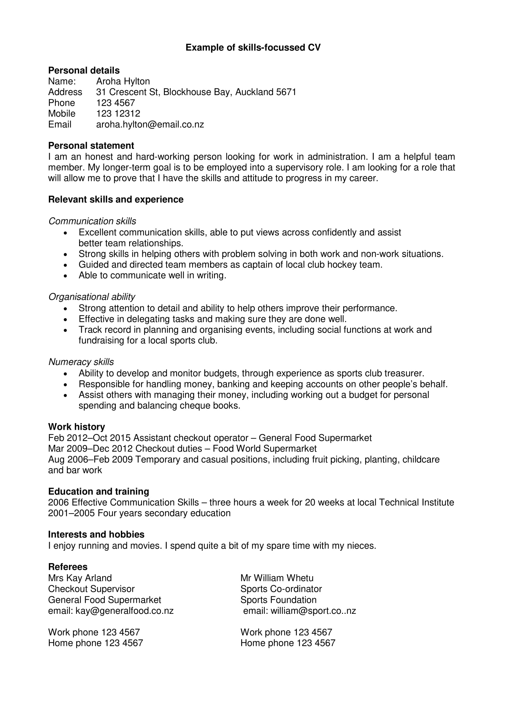 personal summary examples pdf resume profile statement skills focused cv with example Resume Resume Profile Statement Examples