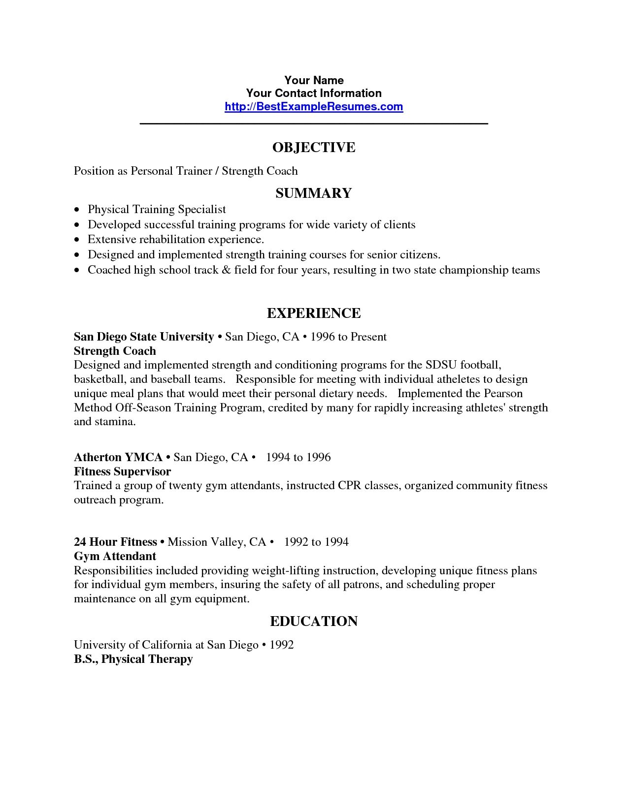 personal trainer resume objective sample gallery photos job samples for leasing Resume Resume Objective For Trainer