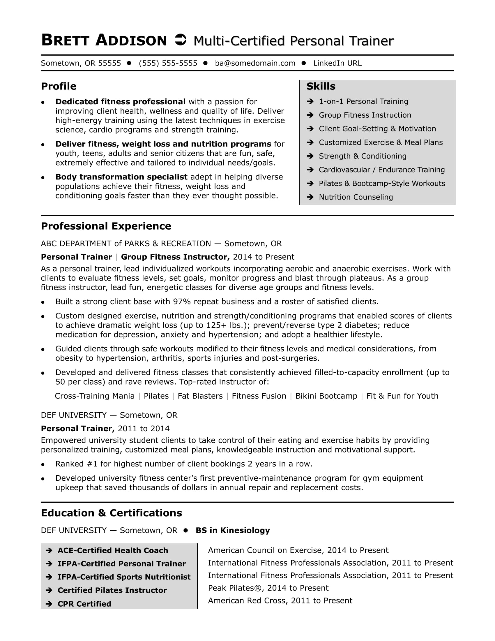 personal trainer resume sample monster new free federal template best linkedin builder Resume New Personal Trainer Resume