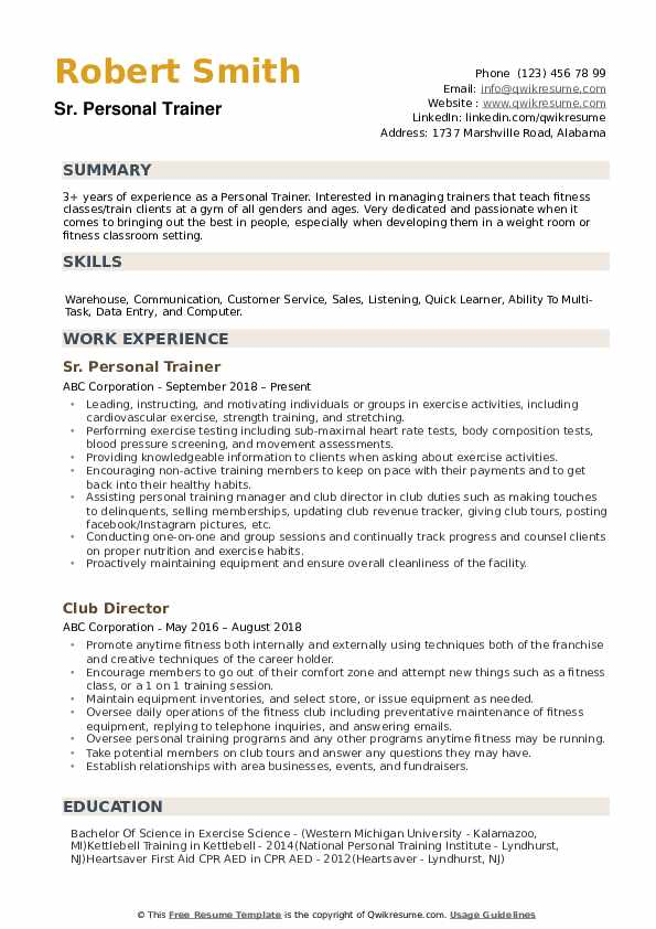 personal trainer resume samples qwikresume sample pdf high school student examples Resume Personal Trainer Resume Sample