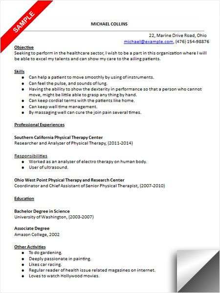 physical therapist assistant resume sample therapy examples lecturer responsibilities Resume Physical Therapist Assistant Resume Examples