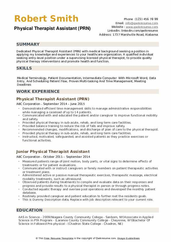 physical therapist assistant resume samples qwikresume job description for pdf awards Resume Physical Therapist Assistant Job Description For Resume