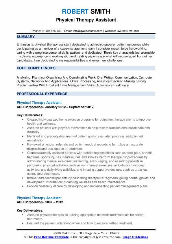 physical therapy assistant resume samples qwikresume therapist job description for pdf Resume Physical Therapist Assistant Job Description For Resume