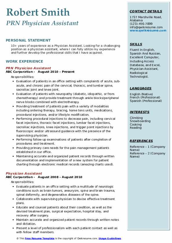 physician assistant resume samples qwikresume pa school template pdf independent Resume Pa School Resume Template