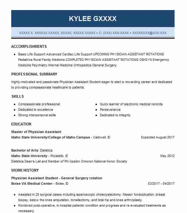 physician assistant student resume example towson university pa program school template Resume Pa School Resume Template
