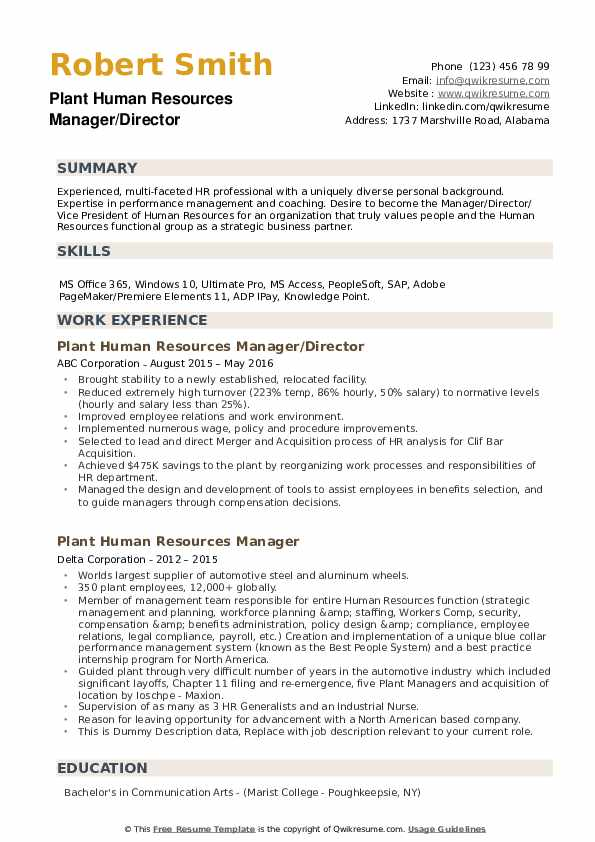 plant human resources manager resume samples qwikresume summary pdf information security Resume Human Resources Manager Resume Summary