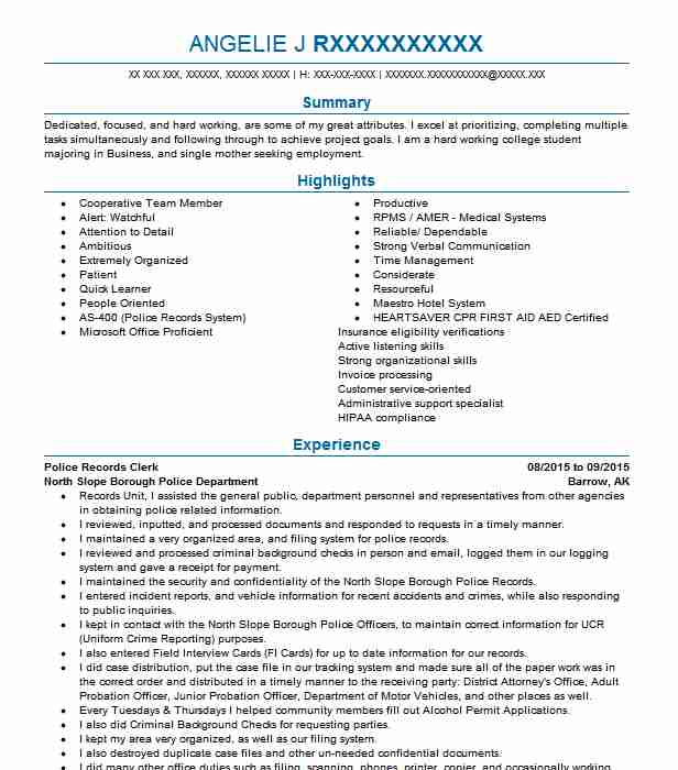 police records clerk resume example resumes livecareer management sample photography Resume Records Management Clerk Resume Sample