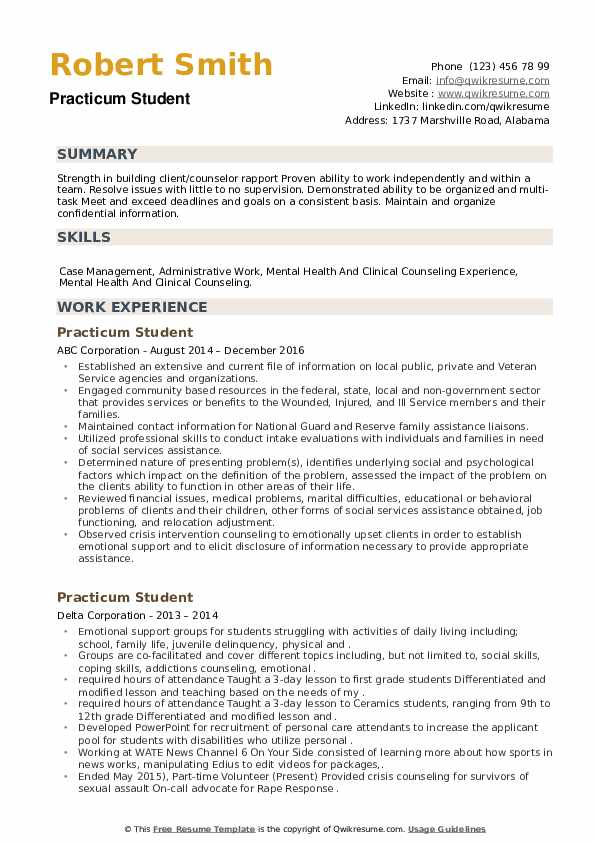 practicum student resume samples qwikresume for counseling pdf action verbs harvard Resume Resume For Practicum Student Counseling