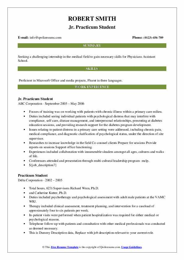 practicum student resume samples qwikresume for counseling pdf actual high school maker Resume Resume For Practicum Student Counseling