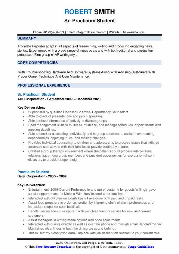 practicum student resume samples qwikresume for counseling pdf actual the people Resume Resume For Practicum Student Counseling