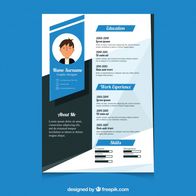 premium vector modern cv template resume with fbi example professional background Resume Modern Resume Template With Picture