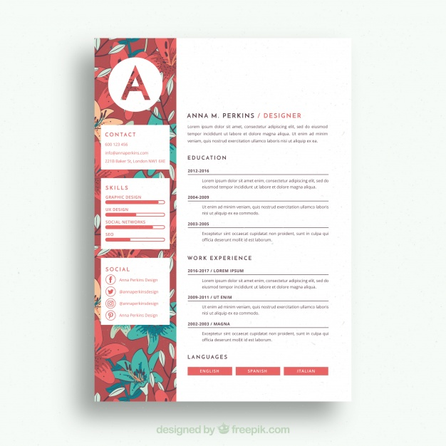 premium vector pretty floral resume template templates healthcare coo plant manager Resume Pretty Resume Templates