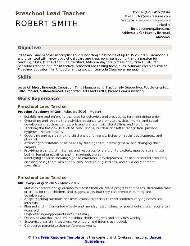 preschool lead teacher resume samples qwikresume childhood template pdf banking sample Resume Early Childhood Teacher Resume Template