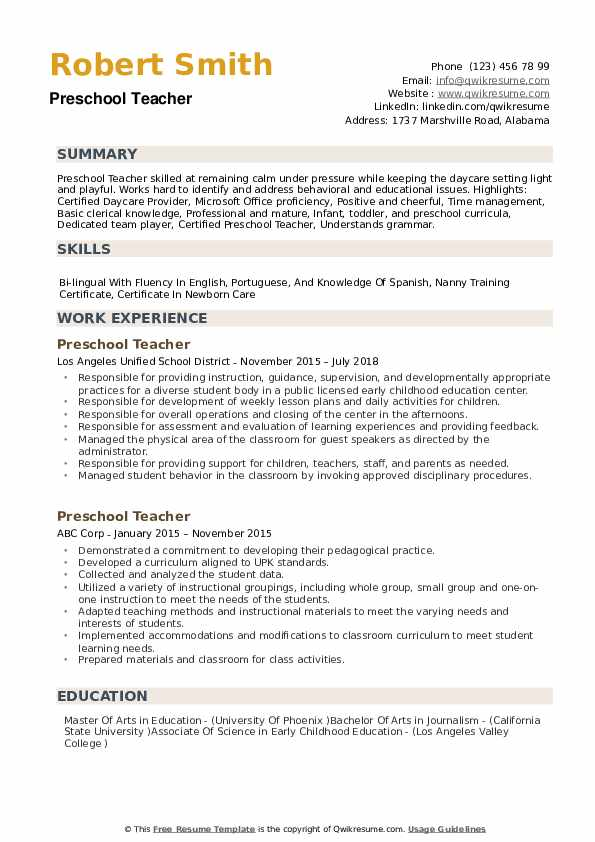 preschool teacher resume samples qwikresume childhood template pdf does now cost money Resume Early Childhood Teacher Resume Template