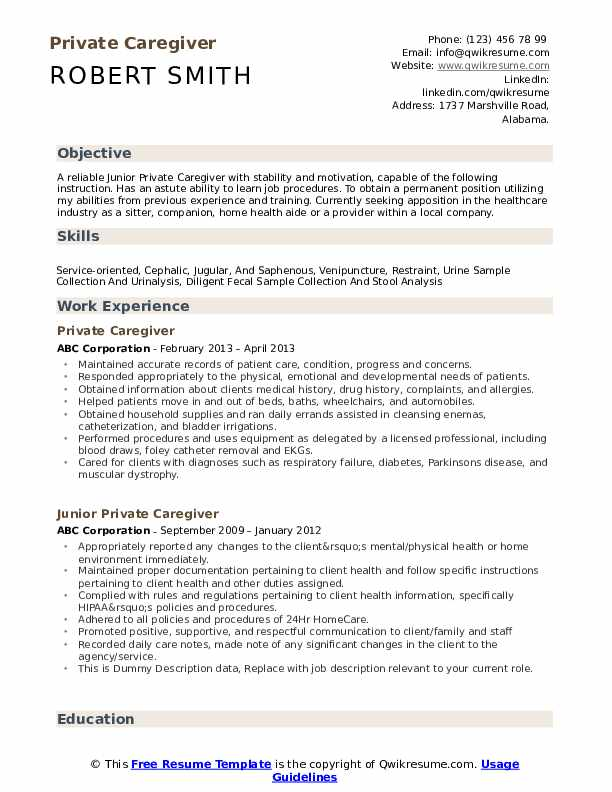 private caregiver resume samples qwikresume examples for skills pdf and motivation letter Resume Resume Examples For Caregiver Skills