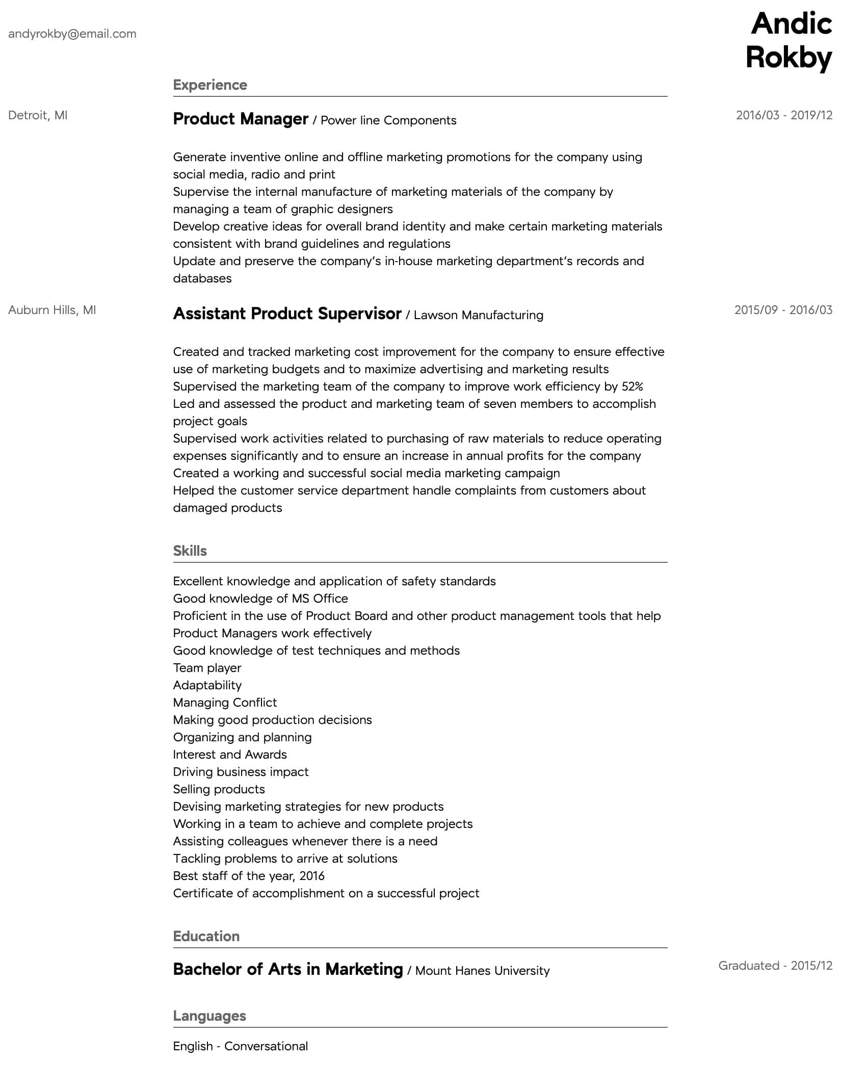 product manager resume samples all experience levels for position intermediate template Resume Resume For Product Manager Position
