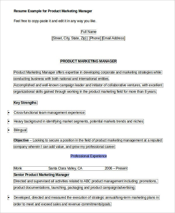 product manager resume templates pdf free premium for position marketing help tucson Resume Resume For Product Manager Position