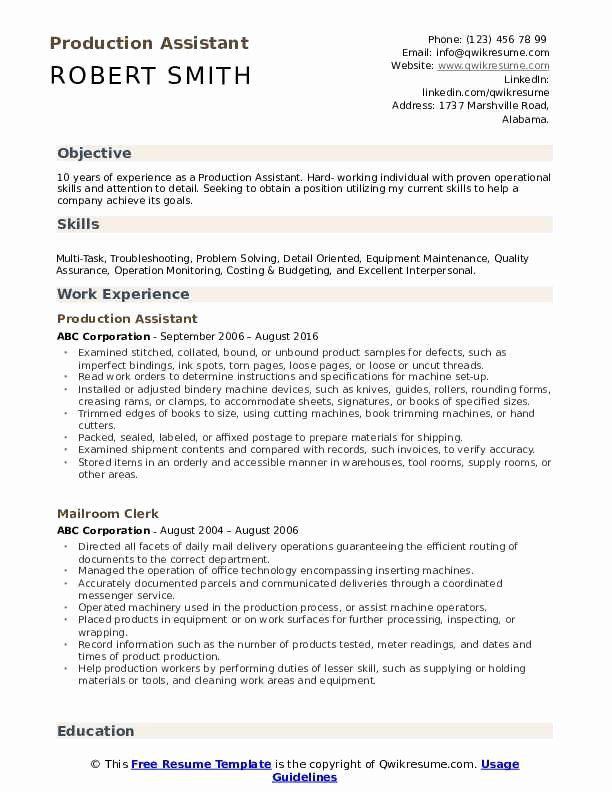 production assistant resume no experience unique samples jobs skills template objective Resume Production Assistant Resume Template