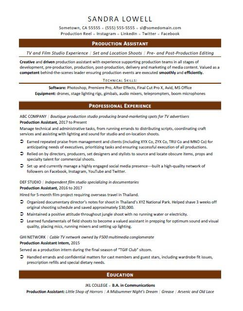 production assistant resume sample monster template summary of qualifications accounting Resume Production Assistant Resume Template