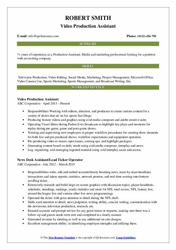 production assistant resume samples qwikresume template pdf sample for abroad best free Resume Production Assistant Resume Template