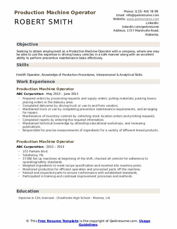production machine operator resume samples qwikresume sample pdf job application cover Resume Machine Operator Resume Sample