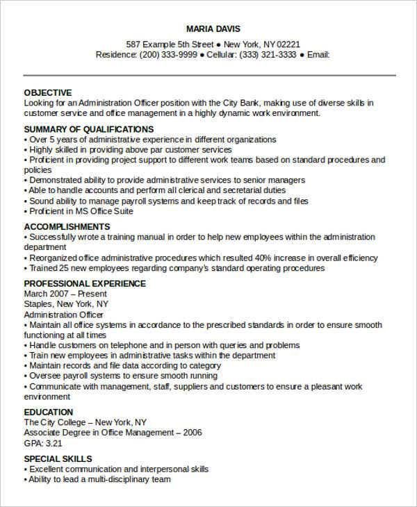 professional administrative resume templates pdf free premium format for officer sample Resume Resume Format For Administrative Officer