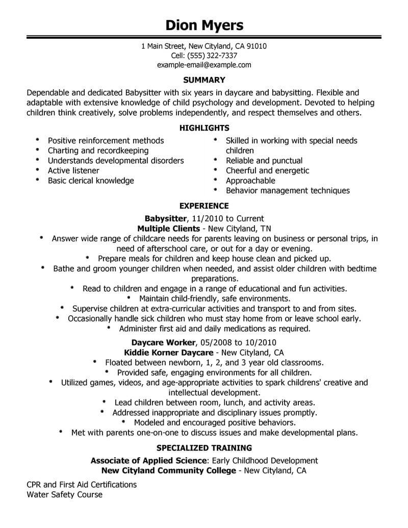 professional babysitter resume examples childcare livecareer job description for personal Resume Babysitter Job Description For Resume