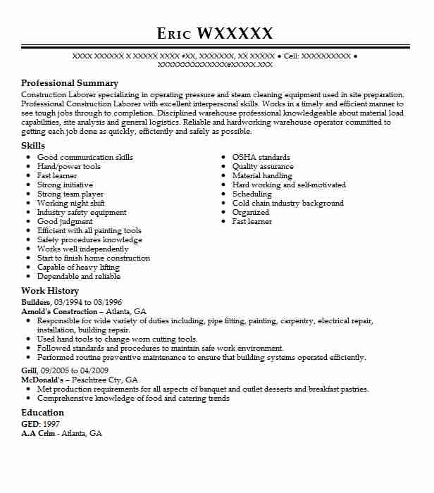 professional builder resume examples construction livecareer summary for printer Resume Summary Builder For Resume