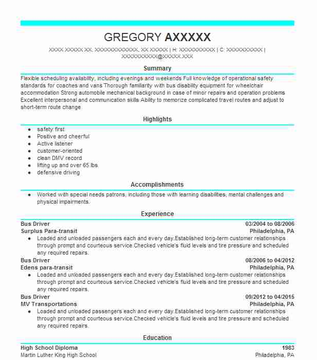 professional bus driver resume examples driving livecareer school special events Resume School Bus Driver Resume