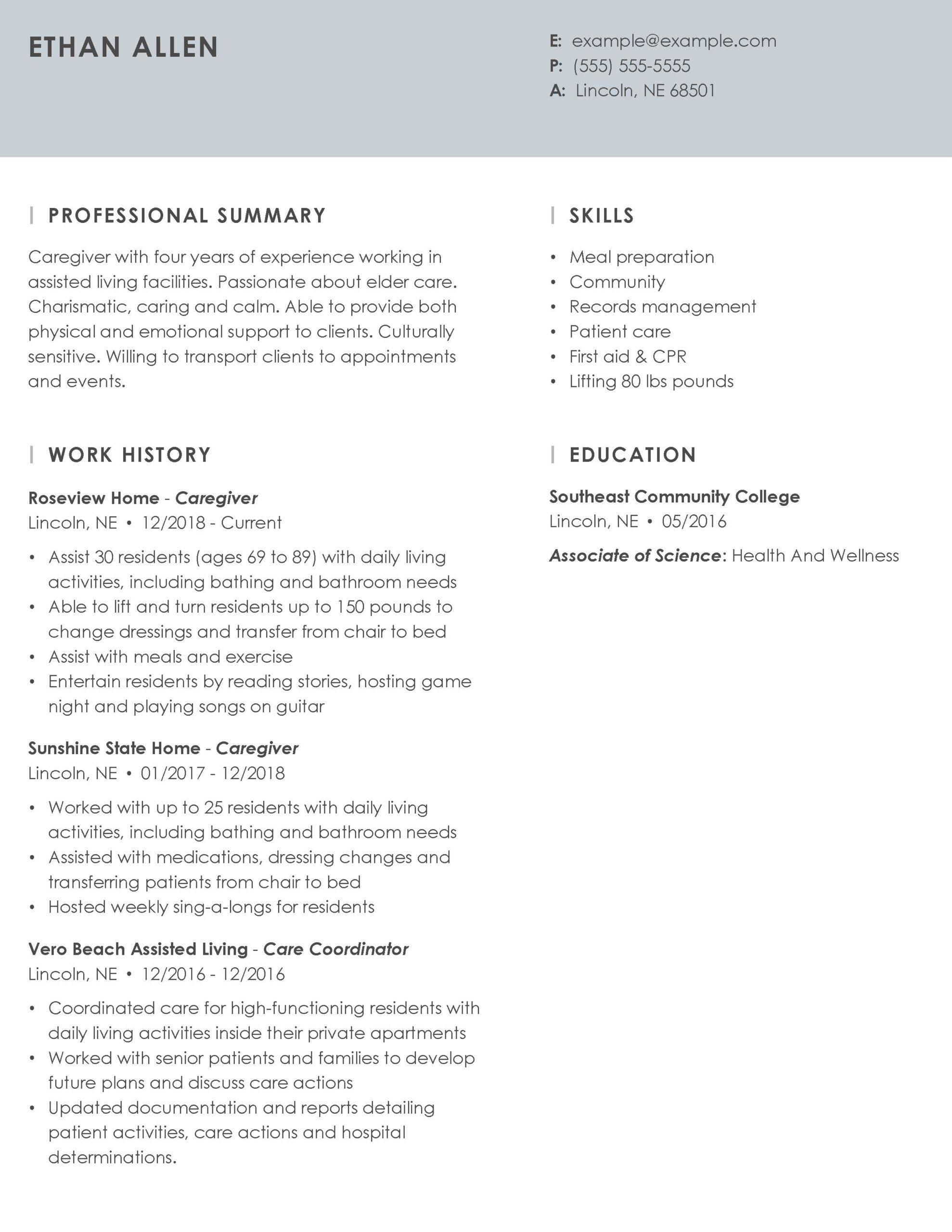professional caregiver resume example tips myperfectresume examples for skills essence Resume Resume Examples For Caregiver Skills